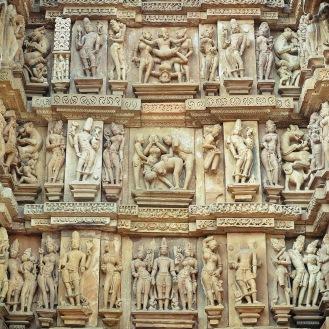 Detalhe de um templo na sexy e sagrada Khajuraho